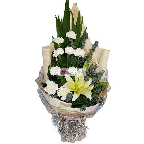 Cheap Flower Delivery Cebu 9 white carnation flower and eucalyptus and lilium in a nice wrap.