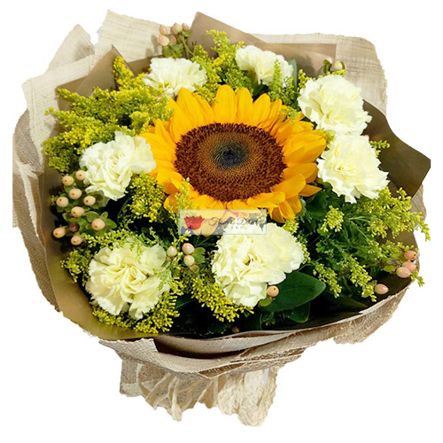 Sun Burst Flowers Cebu. Combination of Sunflower and Carnation Flowers in a nice wrap.
