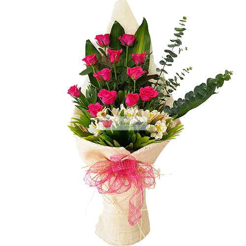 Courtship Flowers Cebu A courtship flowers bouquet of 12 Pink Roses nicely wrapped with an accent of Eucalyptus and Alstroemeria Flowers.