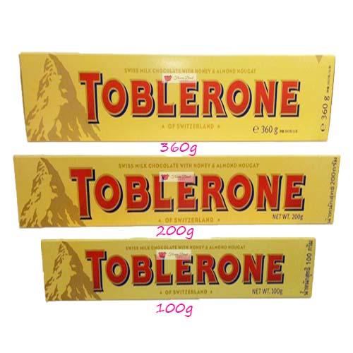 Toblerone Milk Chocolate candy Cebu Available in 100g, 200g and 360g.