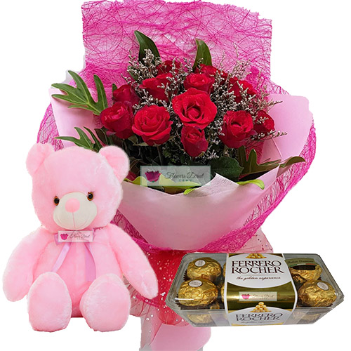 flower gift deals cebu, gift set dozen red rose teddy bear