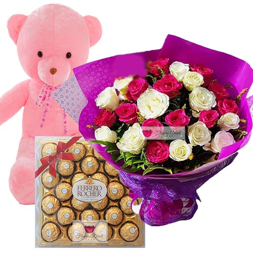 "Ayala Flower Shop Cebu special deal. Flower Gift Deal Set includes a nice bouquet of 24 roses in a wrap, 24"" Light up bear and 24ct Ferrero. Rose can be white, pink or red just let us know when ordering."