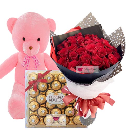"Flowers Combo Cebu includes your choice in design of 36 Imported red roses, 24"" Light up bear and 24ct Ferrero."
