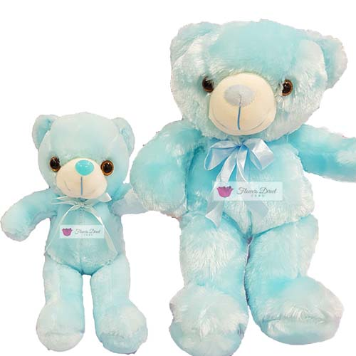 "Blue teddy bear Cebu, choose from 12"" or 18"". Bear lights up and batteries are included."
