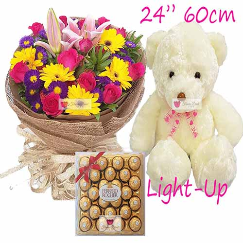 "Cebu Gifts Set includes a nice bouquet wrap, 24"" Light up bear and 24ct Ferrero."
