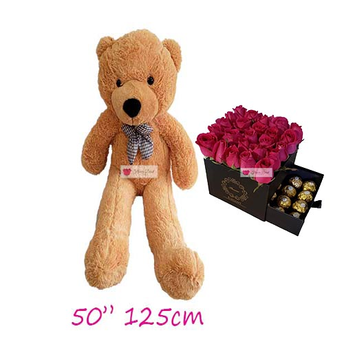 Flower Gift Deals Cebu set includes; Pink Rose Gift Box with 16ct Ferrero and a huge