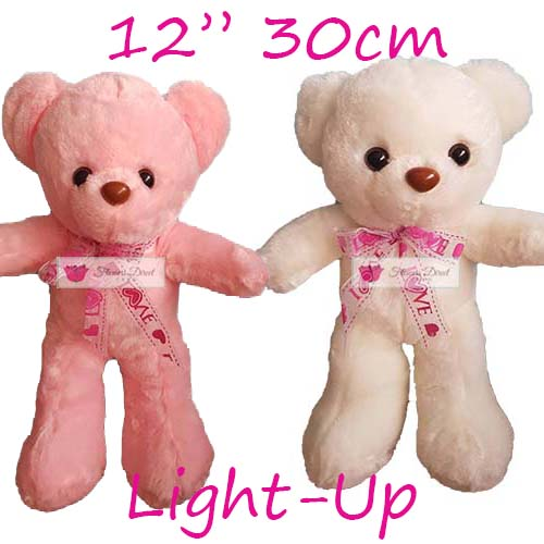 "Stuffed Animal Cebu Light up Teddy Bear 12"". Stuffed animal Cebu, choose white or pink bear. Similar products that are also available; 8"", 18"" and 24""."