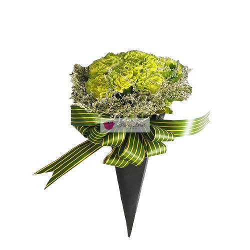 Cheap Carnation Cebu flower bouquet 10 pcs Carnation Flower with misty blue accent in black paper cone.