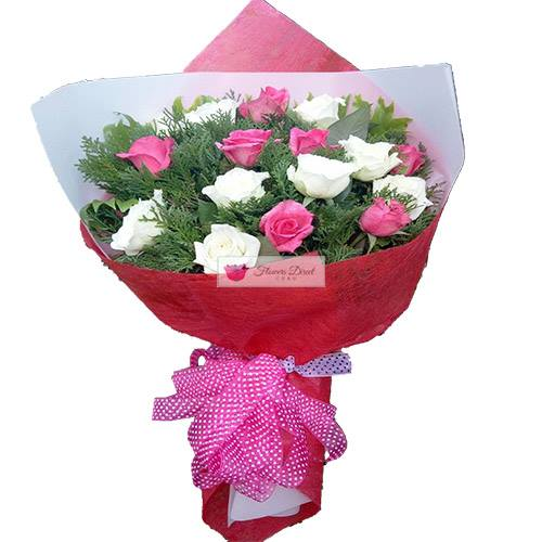 Birthday Bouquet cebu of Flowers pink white roses cebu