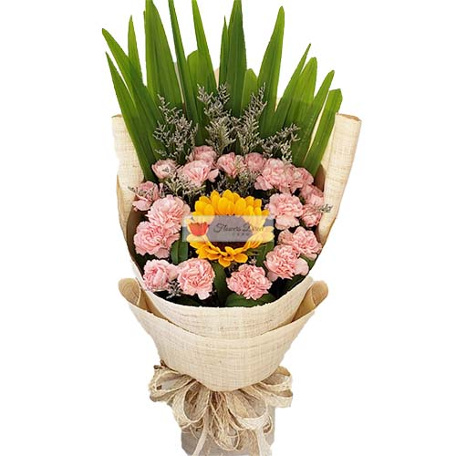 Courting Flowers Cebu, sunflower and pink carnations in a wrap