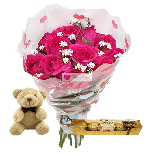 "Discount Flowers Cebu and Gift Set includes; 12 Pink Roses in a plastic decorated wrapper. 4"" Brown Bear 5pc Ferrero."