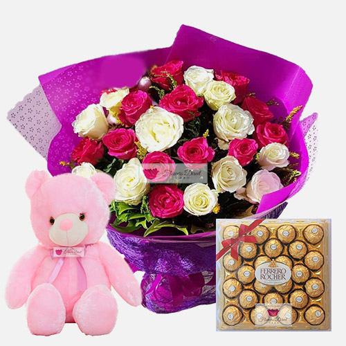 "Flower Package Deal Cebu  includes a nice bouquet of 24 roses in a nice wrap, 18"" Light up bear and 24ct Ferrero. Rose can be white, pink or red just let us know when ordering."