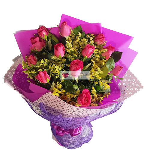Monthsary Flowers Cebu are the perfect choice for your month anniversary weathers its the first or 50th. 12 Pink Roses with yellow accent, Wrapped.
