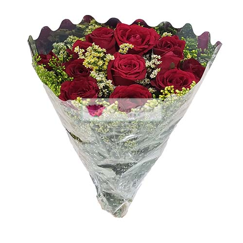 12 red roses in a plastic wrap. Cebu Cheap Roses Bouquet
