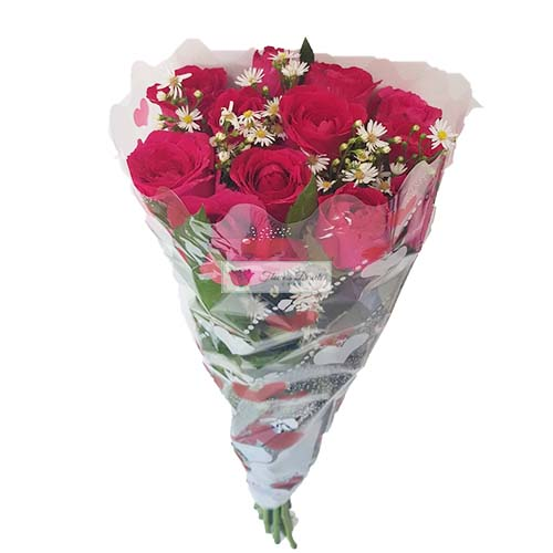 Cheap Rose Bouquet Cebu, 12 pink roses in a plastic wrap. Cheap Rose Bouquet Cebu Flowers