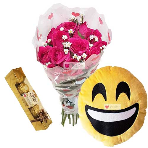 "Flower Gift set Cebu includes; 12 Pink Roses in a plastic decorated wrapper. Default is pink roses, let us know when ordering if you would like red roses for the same price. 12"" Emoji Pillow 5pc Ferrero"