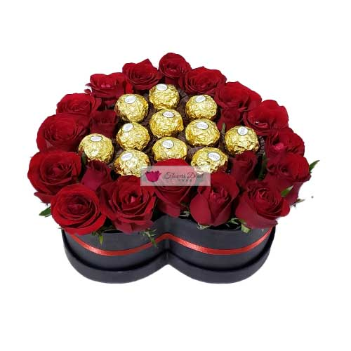 Heart Box of Flowers Cebu w/ Ferrero Chocolate Heart Box of Roses (Red) with Ferrero Chocolate Candy. 20-24 short stem red roses in a black heart shaped box with 11 pieces of Ferrero.