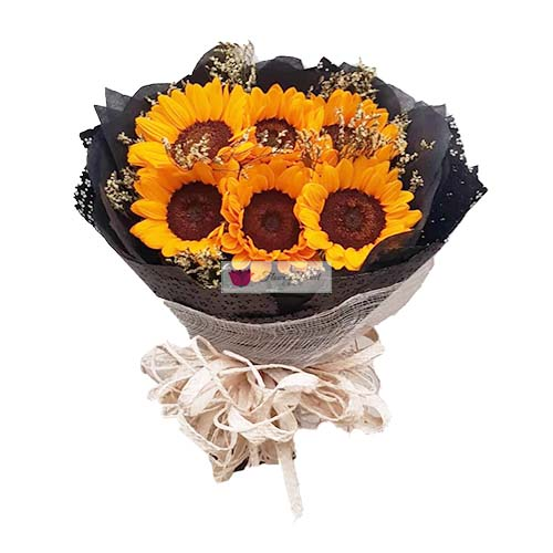 Sunflowers Cebu bouquet of six imported flowers in a nice wrap.