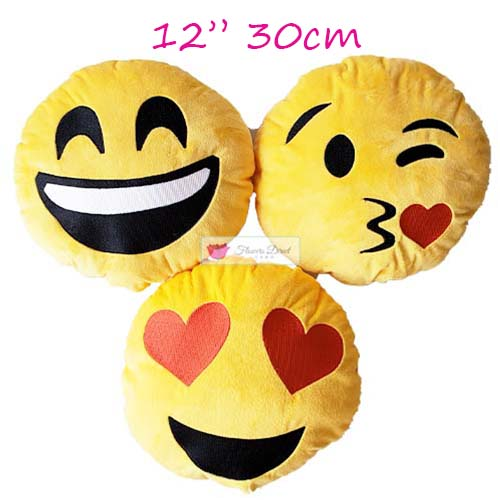 Emoji Pillow Cebu Heart face, Kiss face or Smile face stuffed emoji pillows are 12 inches or 30cm. Soft and fluffy for sure they will love it. Emojis Pillows Cebu makes the perfect gift for your love or courtship. Choose from Love face emoji pillows, kiss face emoji pillows or smile face emojis pillows.