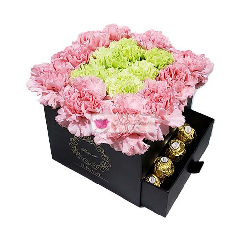 Carnations Box Cebu, Pink and Green with 16ct Ferrero Carnation Box Cebu of 19 carnations with 16 count Ferrero. Choose Black or White box.