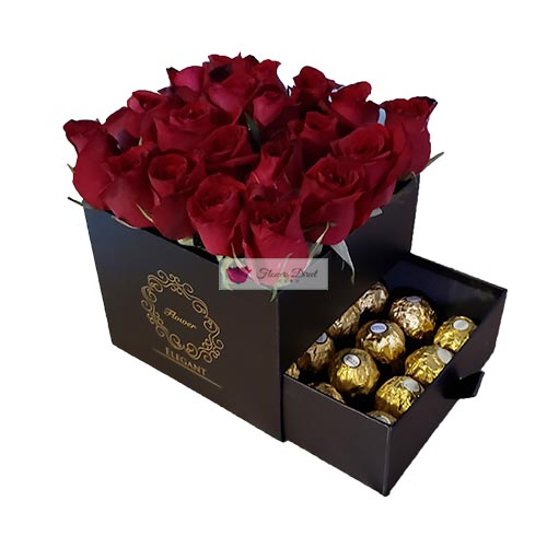 gift box of roses black