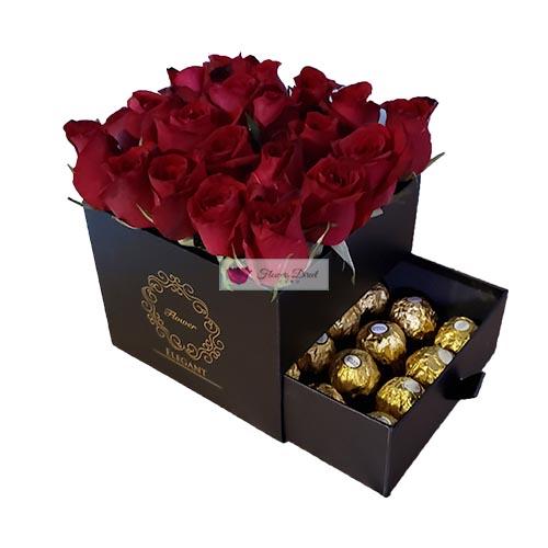 gift box of roses black