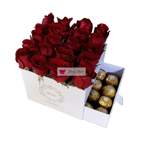 Gift Box of roses Cebu with 16 count Ferrero. Choose Black or White box.20-24 Red roses in a decorative box that includes 16 pieces of ferrero chocolate candy.