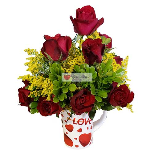 "Red roses cup deluxe Cebu, one dozen red roses in a 4"" coffee cup with yellow accent."