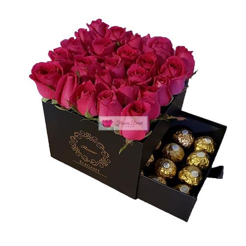roses gift box black