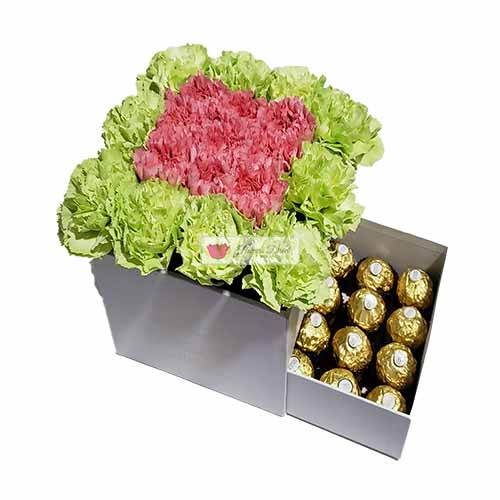Carnation Box Cebu, Pink and Green with 16ct Ferrero Carnation Box Cebu of 19 carnations with 16 count Ferrero.