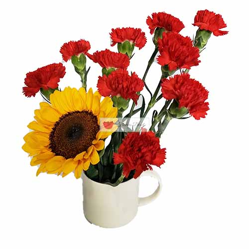 Carnation cup Cebu in a Reusable 4″ coffee cup. 10 red, green or pink carnations with a sunflower