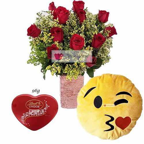 "Flower Gift Delivery Cebu City includes; 1 dozen red roses in a vase with 96 grams Lindor and a 12"" Emoji Pillow"