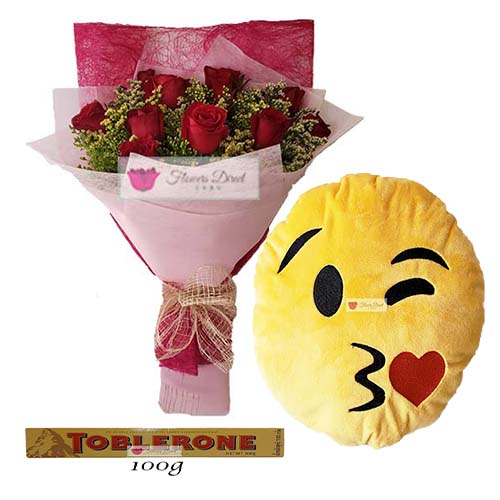 Send flowers to Cebu deal includes; 12 Red Roses in a nice wrap, 12″ Emoji Pillow and 100 gram Toblerone.