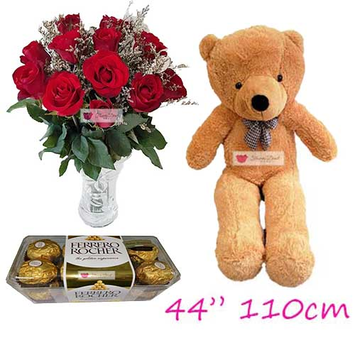 "Big Love Flowers Cebu set includes; 12 Red roses in a glass vase with 16ct Ferrero and a huge 44"" bear."