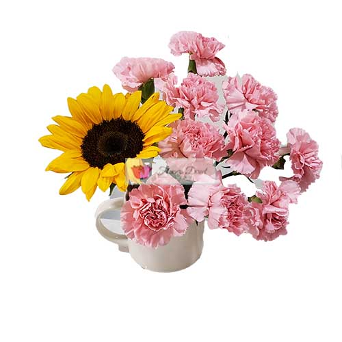 carnation cup cebu pink carnation flowers and sunflower in a coffee cup fdcebu
