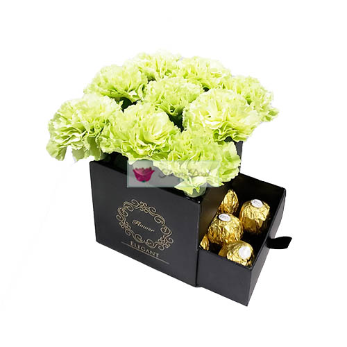 carnation gift box green fdcebu