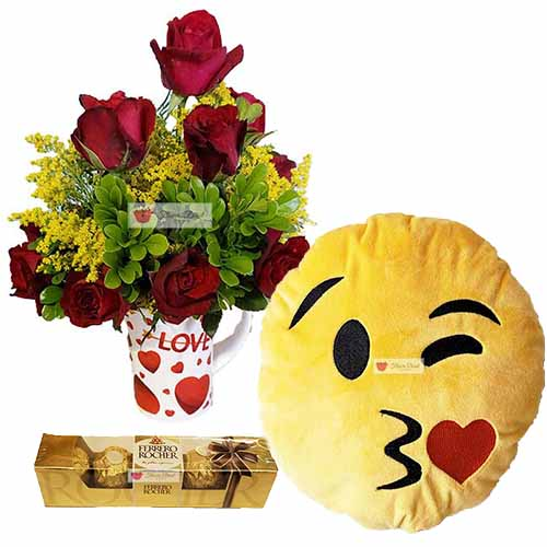 "Cebu Love Flowers includes; 12 Red Roses in a 4"" reusable coffee cup.  12"" Emoji Pillow 5pc Ferrero"