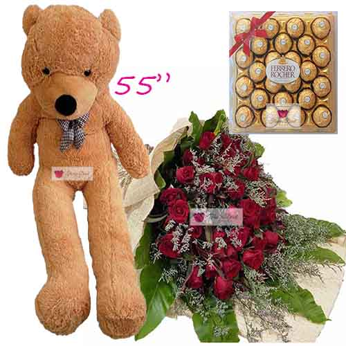 "Cebu Lovers Flowers set includes; 100 Red roses in a wrap with 24ct Ferrero and a huge 55"" bear."