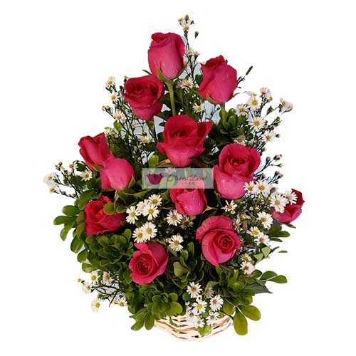 Deluxe rose basket Cebu, one dozen roses in a basket accented with baby's breath . All orders receive a free customized greeting card. Provide card message at checkout.