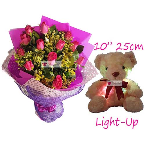 "Monthsary Gift Cebu includes; 12 Pink roses with yellow accent 10"" Brown light up bear Roses available in Pink or Red."