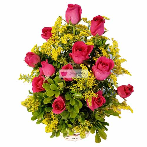 Rose Deluxe basket Cebu, one dozen roses in a basket accented with goldenrod.