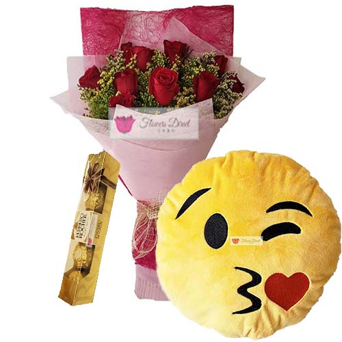 Send flowers to Cebu deal includes; 12 Red Roses in a nice wrap, 12″ Emoji Pillow and 5pc Ferrero.