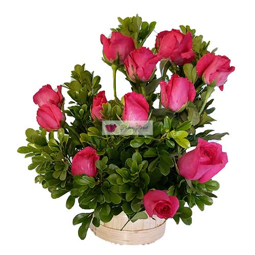 Simple rose basket Cebu, one dozen roses in a basket. All orders receive a free customized greeting card. Provide card message at checkout.