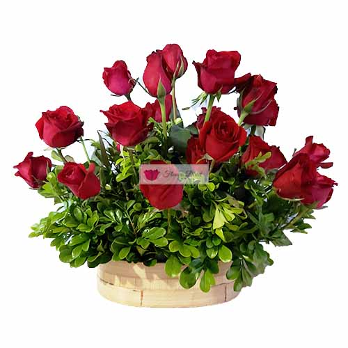 Valentines Day basket Cebu, two dozen roses in a basket.