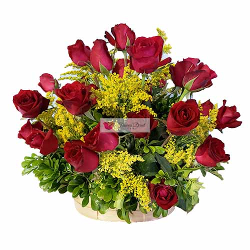 Valentines Day Flowers basket Cebu, two dozen roses in a handmade basket with goldenrod accent.