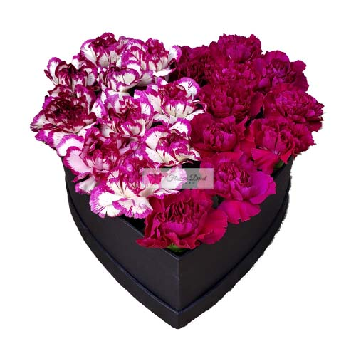 Carnation Heart Box Cebu filled with carnation flowers