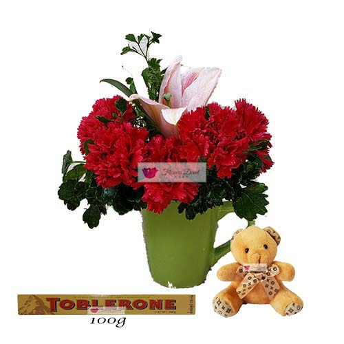 Cheap Flower Bouquets Cebu 10 carnations of your color choice with one pink Lily in a coffee cup with 4 inch bear and 100 gram Toblerone.