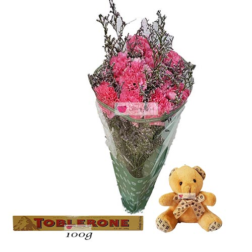 Discount Flowers Bouquet Cebu 10 carnations of your color choice with Misty in a simple plastic wrap. Picture is shown with Pink carnations.