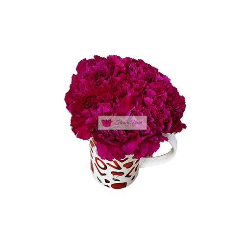 Love Cup Carnation Cebu, 10 carnation flowers of your choice of color in a reusable love themed coffee cup