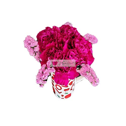 Love Cup Carnations Cebu, 10 carnations of the color of your choice with statice accent in a love themed coffee cup